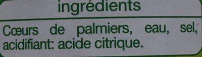 Cœurs de Palmiers - Ingrediënten - fr