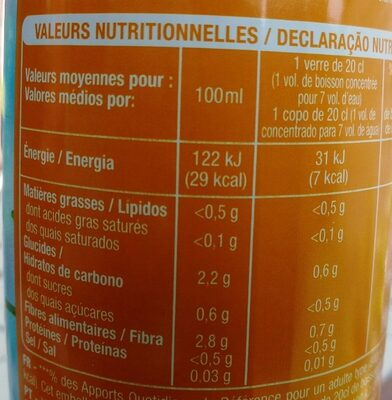 Sirop saveur d'agrumes 0% sucres - Informations nutritionnelles - fr