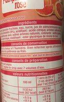 Sirop de pamplemousse rose - Inhaltsstoffe - fr