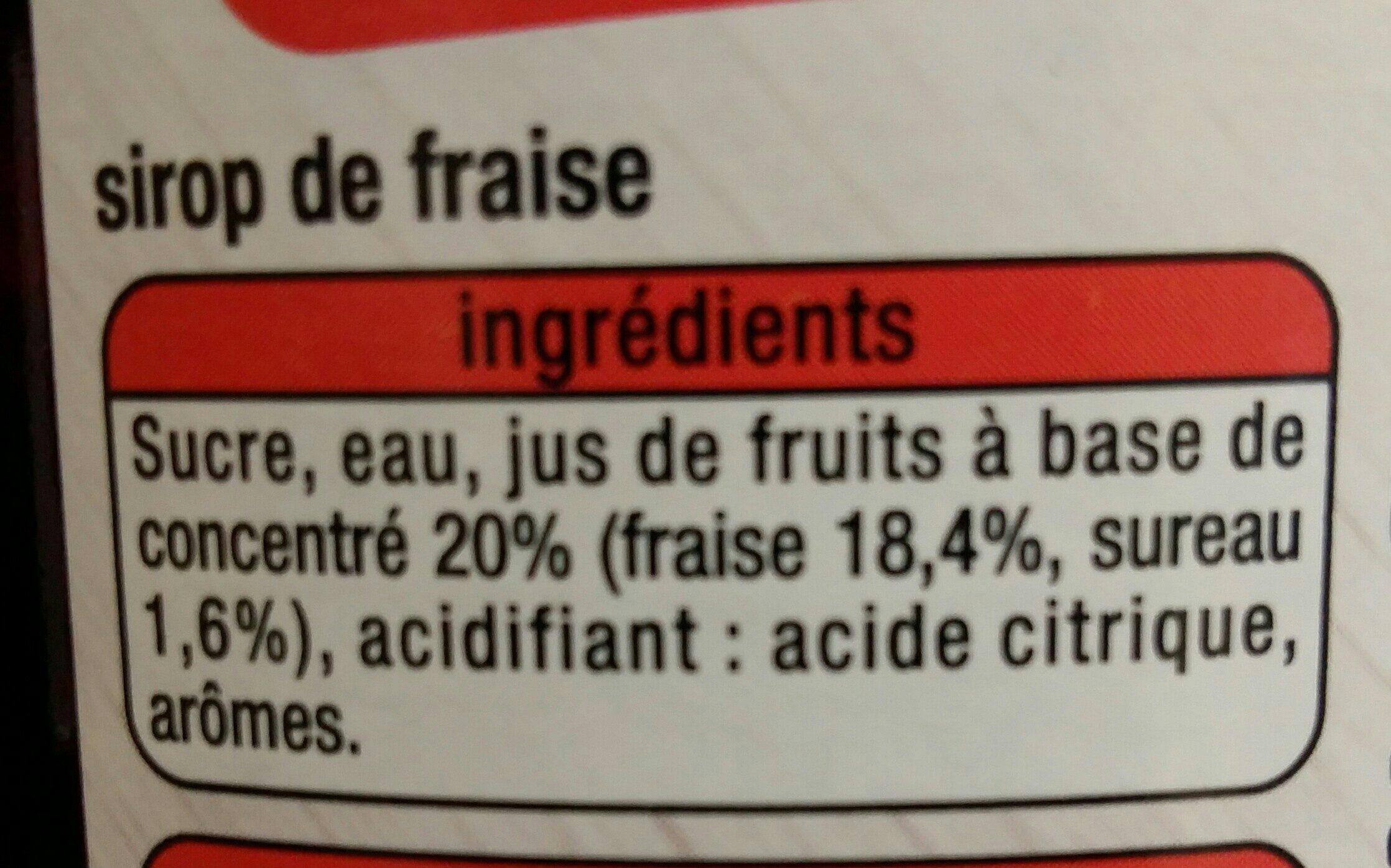 Sirop Fraise - Ingrediënten
