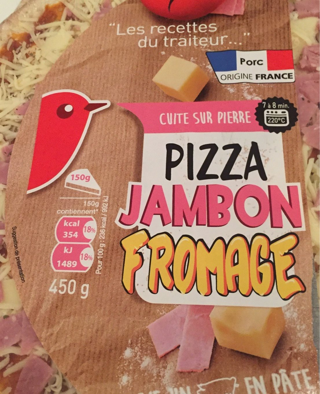 Pizza Jambon Fromage 450g Auchan - Product