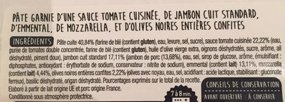 Pizza Jambon Fromage 450g Auchan - Ingredients