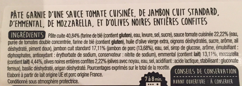 Pizza Jambon Fromage 450g Auchan - Ingrédients - fr