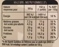 Pizza Jambon Fromage 450g Auchan - Nutrition facts