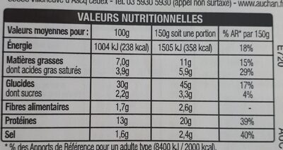 Pizza Jambon Fromage 450g Auchan - Informations nutritionnelles - fr