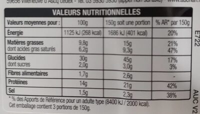 Pizza 4 Fromages - Informations nutritionnelles - fr