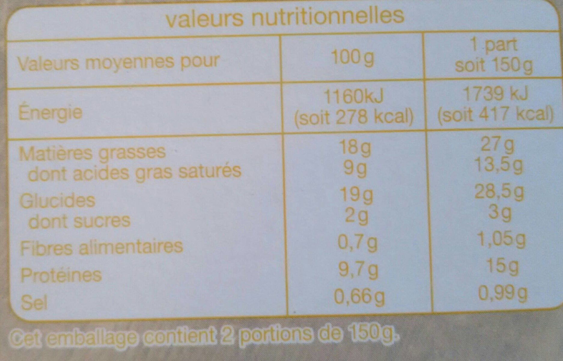 Tarte au fromage - Nutrition facts