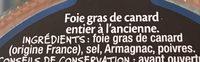 Fois gras de canard entier recette à l'ancienne - Ingredients
