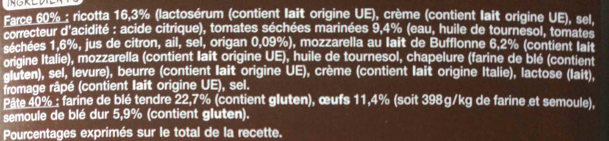 Mezzelune Tomates marinées et mozzarella - Ingrédients - fr