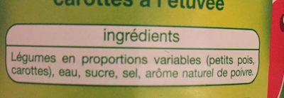 Petits pois carottes a l etuvee - Ingrediënten