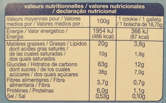 Muesli Cookies pur beurre - Voedingswaarden - fr
