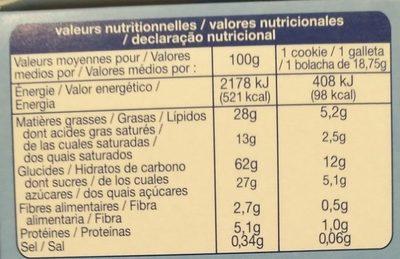 Sans gluten cookies éclats de chocolat 150g - Nutrition facts