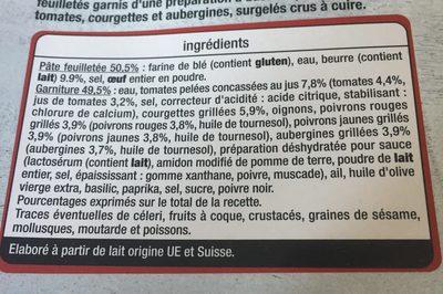 Feuilletés legumes du soleil - Ingrédients - fr