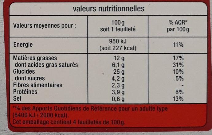 Feuilletés legumes du soleil - Informations nutritionnelles - fr