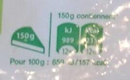 Pommes rissolées BIO - Informations nutritionnelles - fr