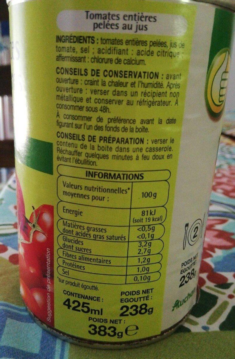 Tomates entières pelées - Nutrition facts - fr