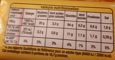 Crackers salés - Informations nutritionnelles