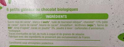 Moelleux au chocolat bio - Ingredienti