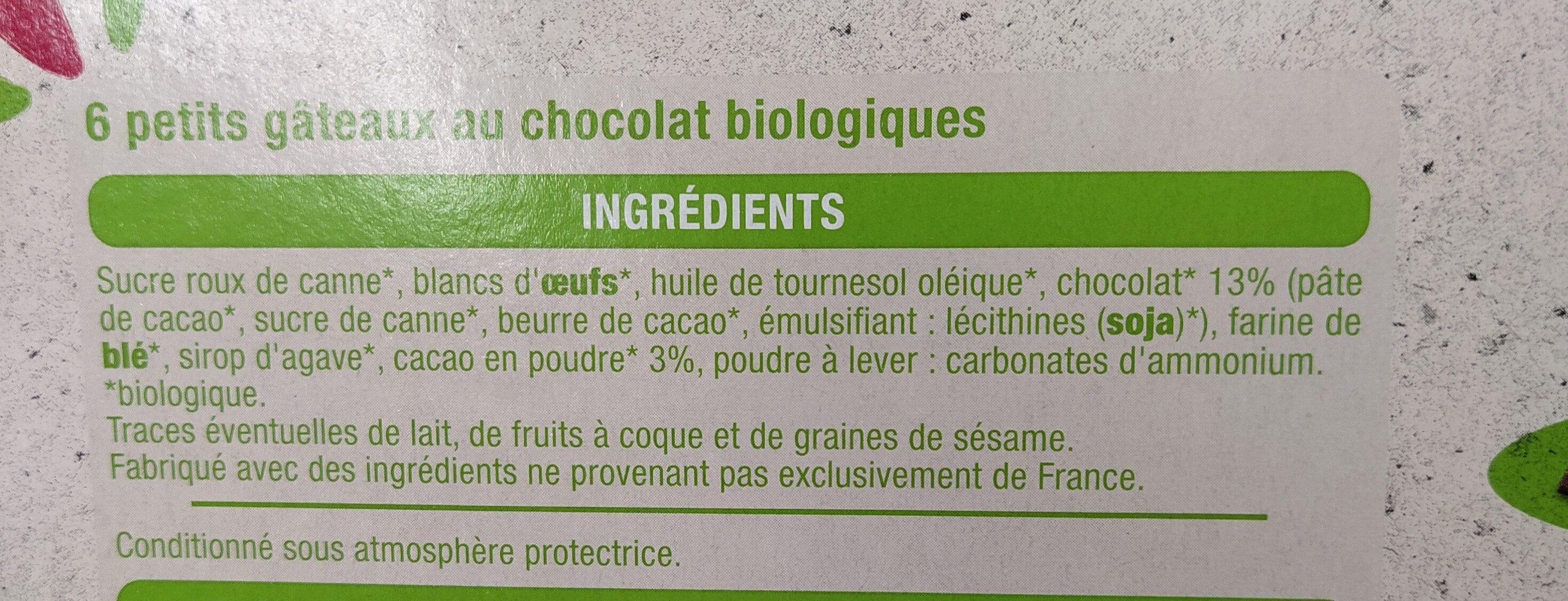 Moelleux au chocolat bio - Ingredienti - fr