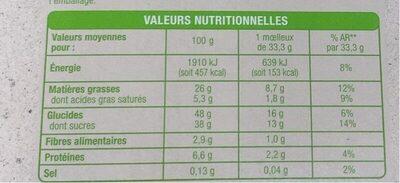 Moelleux au chocolat bio - Valori nutrizionali