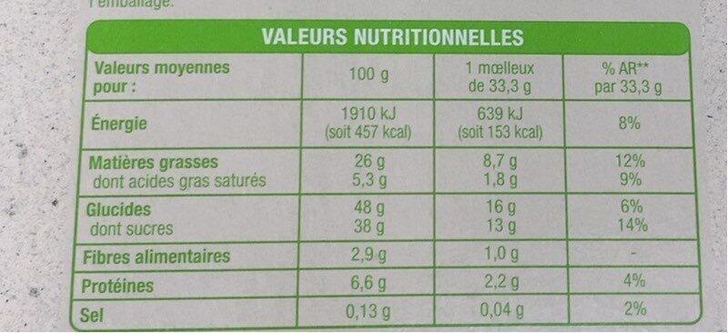 Moelleux au chocolat bio - Valori nutrizionali - fr