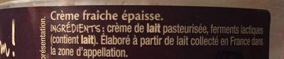 Crème fraiche d'Isigny - Ingredients