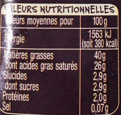 Crème fraiche d'Isigny - Informations nutritionnelles