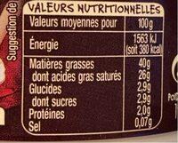 Crème fraiche d'Isigny - Nutrition facts - fr