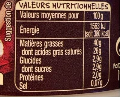 Crème fraiche d'Isigny - Nutrition facts