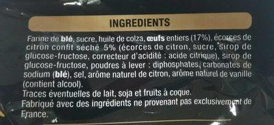 Madeleines aux écorces de citrons confit - Ingredients