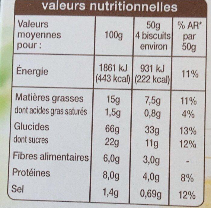 Biscuits petit déjeuner céréales complètes - Informations nutritionnelles - fr