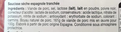 Fuet tranché - Ingredients