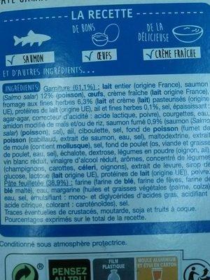 Tarte au saumon fromage ail et fines herbes - Ingrédients - fr