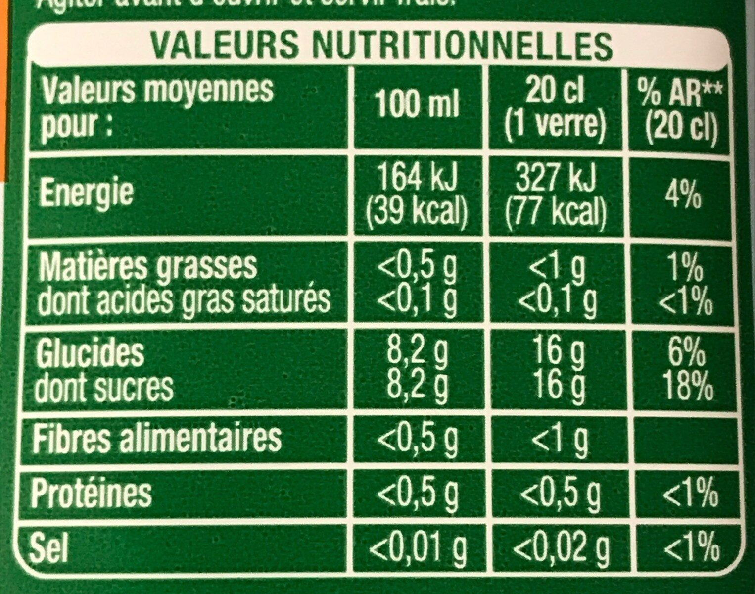 Pur jus mandarine nectarine - Informazioni nutrizionali - fr