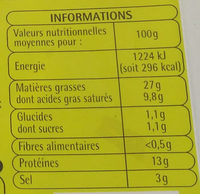 Allumettes nature - Nutrition facts