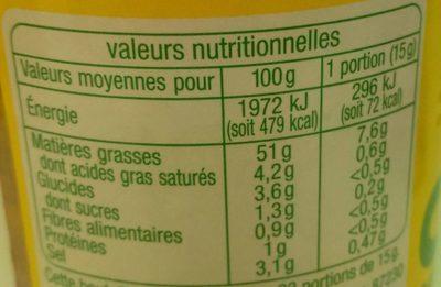 Sauce vinaigrette tomates séchées bio - Nutrition facts