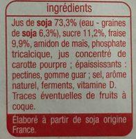 Yaourts au soja sur lit de fraise aromatisée - Ingredients - fr