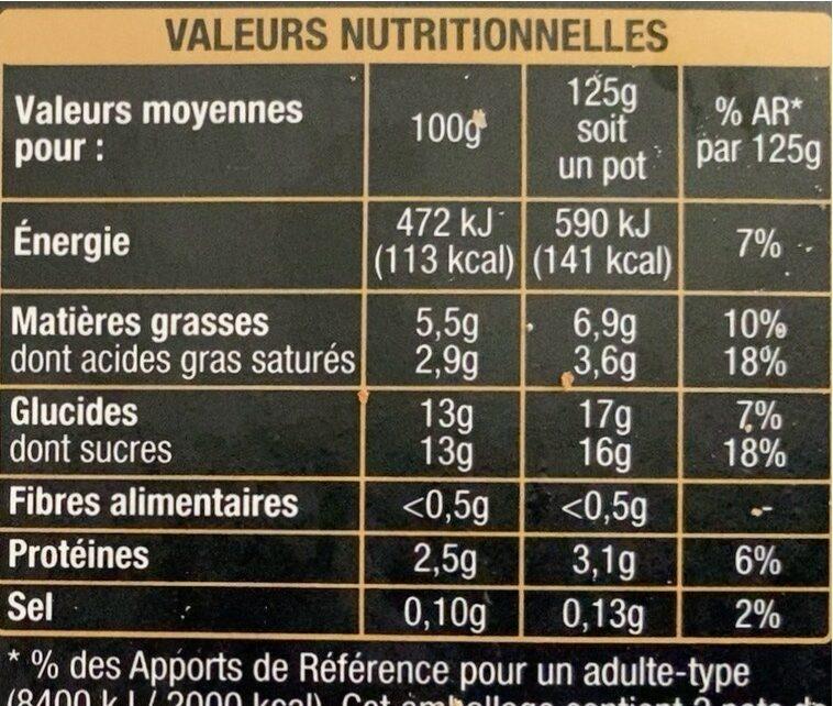 Le yaourt sur lit d'abricot - Nutrition facts - fr