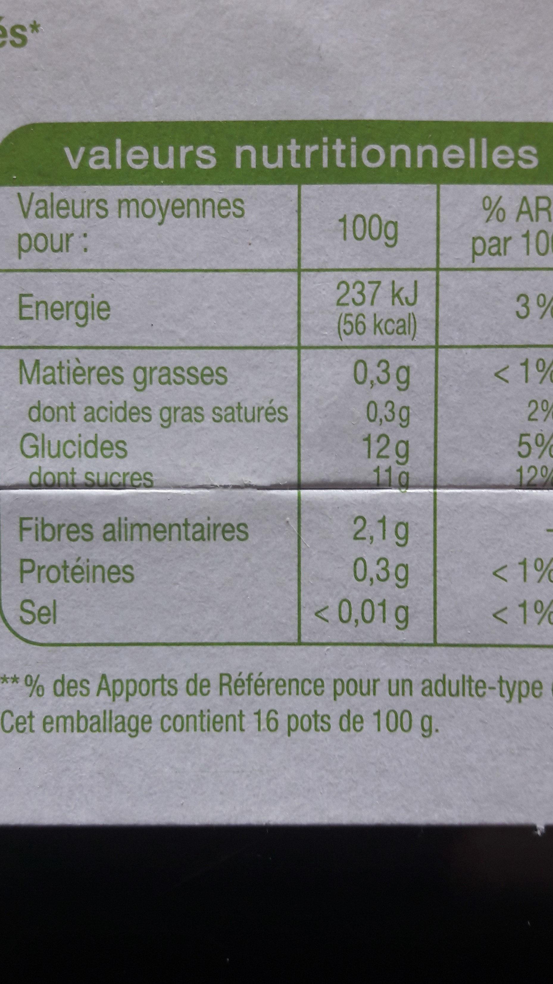 Pomme sans sucre Ajoutés - Nutrition facts - fr