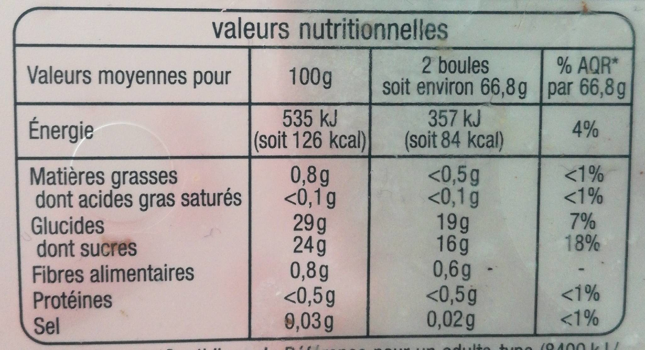 Sorbet framboise avec morceaux - Informations nutritionnelles