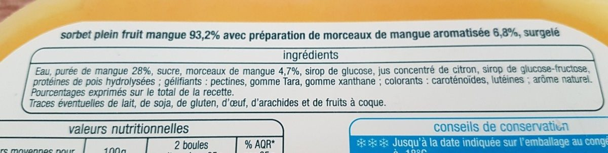 Sorbet mangue avec morceaux - Ingredients