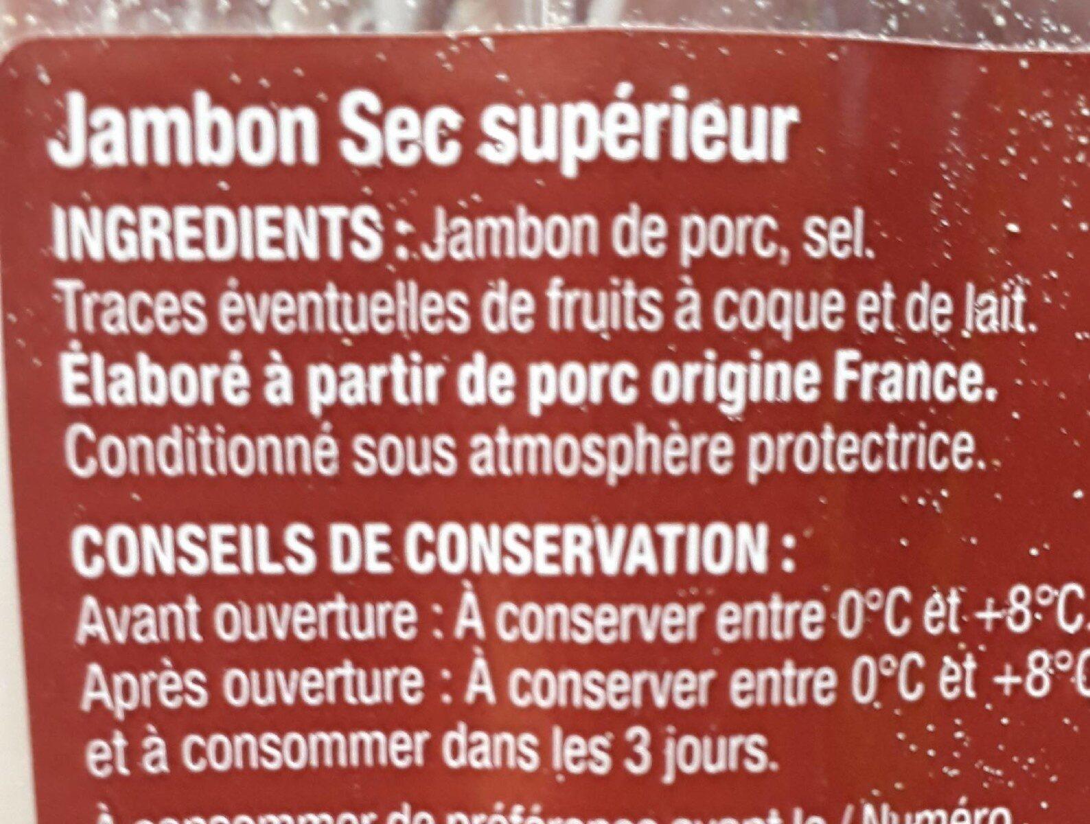 Jambon sec supérieur - Ingredienti - fr