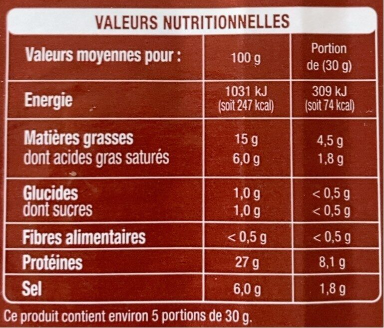 Jambon sec supérieur - Valori nutrizionali - fr