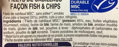 Filets de cabillaud facon fish & chips - Ingredients
