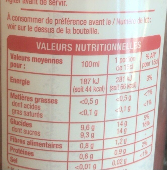 Smoothie framboise fraise myrtille - Nutrition facts - fr