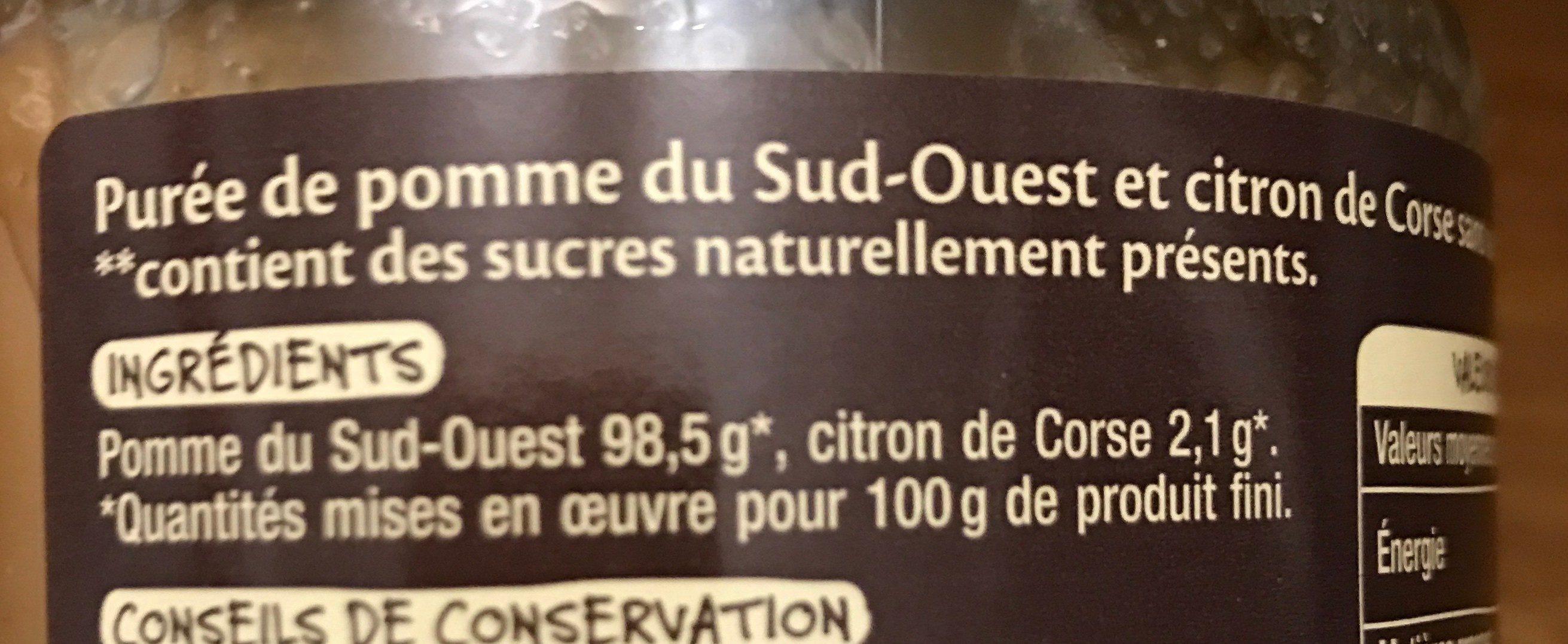 Purée de Pomme du Sud-Ouest et Citron de Corse - Ingrédients - fr