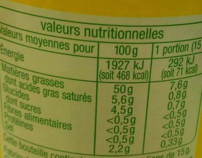 Sauce Vinaigrette - Nutrition facts