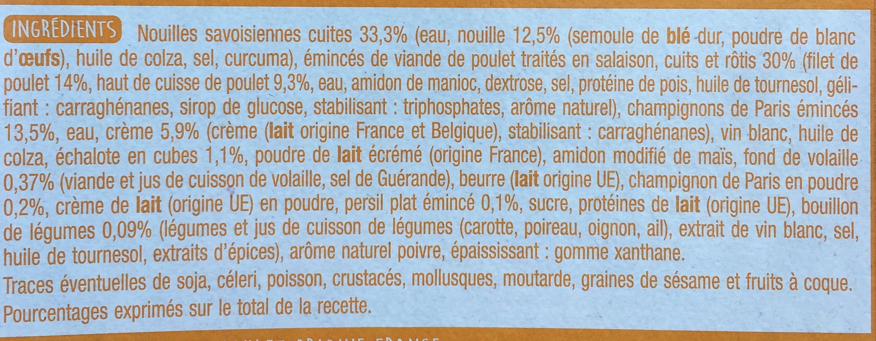 Pâtes Poulet champignons - Ingrédients