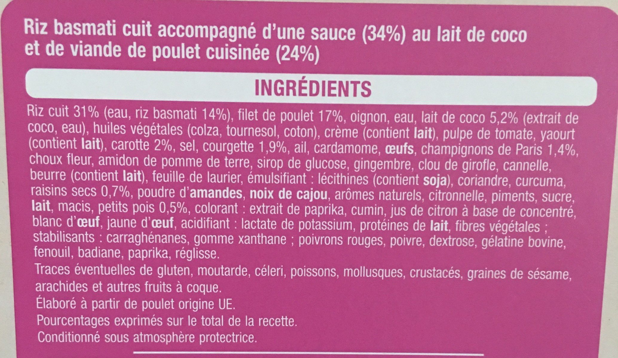 Poulet korma & riz basmati - Ingrédients