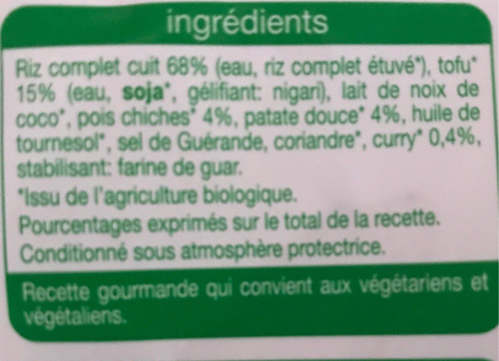 Riz complet curry tofu - Ingredienti - fr